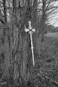 Accident scene, memorial