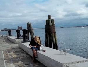 dock, woman,